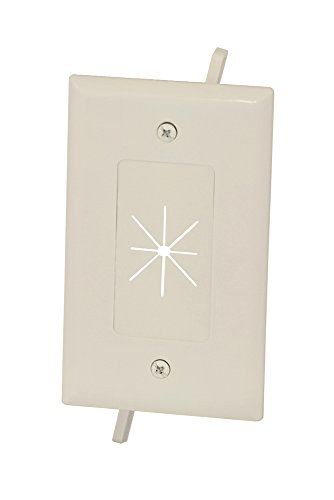Digital Pass Through Wall Plate (Datacomm 45-0014-LA Cable Plate with Flexible Opening, 1-Gang, Lite Almond)
