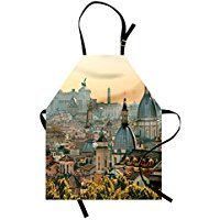 cyg5fw7r City Apron, View of Rome from Castel Sant'Angelo Italy Historical Landmark Vatican, Unisex Kitchen Bib Apron with Adjustable Neck for Cooking Baking Gardening, Pale Salmon Ivory Green