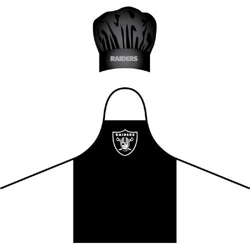 NFL Oakland Raiders Chef Hat and Apron Set, Black,