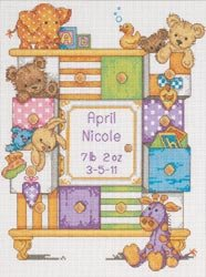 Dimensions 423601 Baby Hugs Baby Drawers Birth Record Counted Cross Stitch Kit-9 in. x 12 in. 14 Count (Baby Drawers Birth Record Cross Stitch Kit)