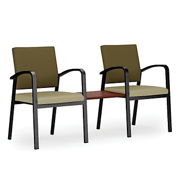Newport Double Guest Chair w/Center Table in Fabric&Vinyl(Black Fabric Back/Black Vinyl Seat/Natural Laminate Table Top/Silver Frame) by OFF1