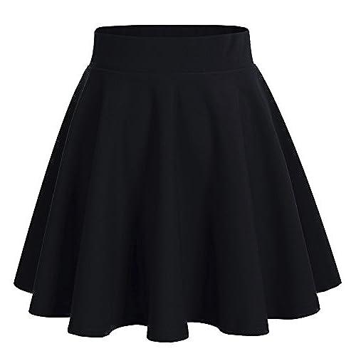 Dresstells reg;Falda Mujer Mini Corto Elástica Plisada Básica Multifuncional Black L
