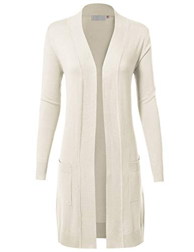 MAYSIX APPAREL Womens Long Sleeve Long Line Knit Sweater Open Front Cardigan W/Pocket Ivory L ()