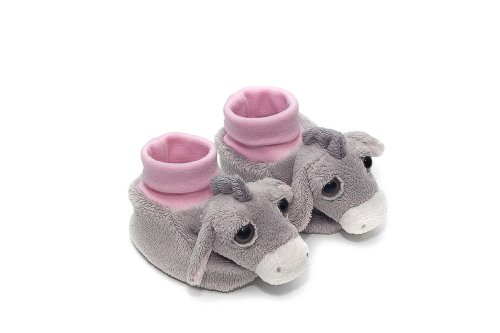 Color de rosa burro Luna de peluche suave para bebé - Zapatos de calcetines antideslizantes con separación de Lil de ojos de