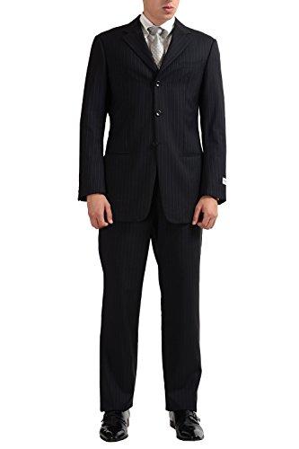 (Armani Collezioni Men's 100% Wool Striped Three Button Suit US 40R IT 50R)
