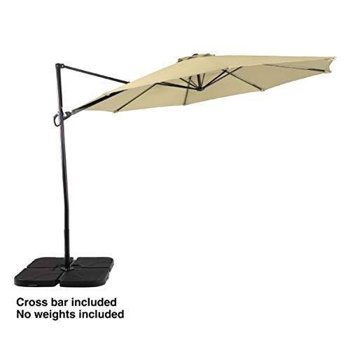 PHI VILLA 11ft Cantilever Patio Umbrella Offset Market Umbrella - 8 Positions - Cross Base Included, Beige (11 Ft Cantilever Patio Umbrella With Base)