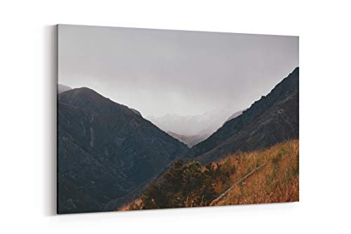 Fog Grey Hike and Mountain in New Zealand - Canvas Wall Art Gallery Wrapped 40