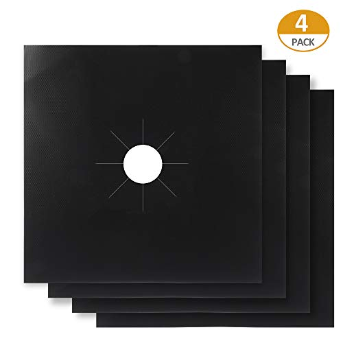 (TRUSBER Gas Stove Burner Covers, 0.2 mm Double Thickness Gas Range Protectors, Reusable Stovetop Burner Liner Covers, Non-Stick, FDA approved, Easy Clean Cover Mat Pad (Pack of 4))