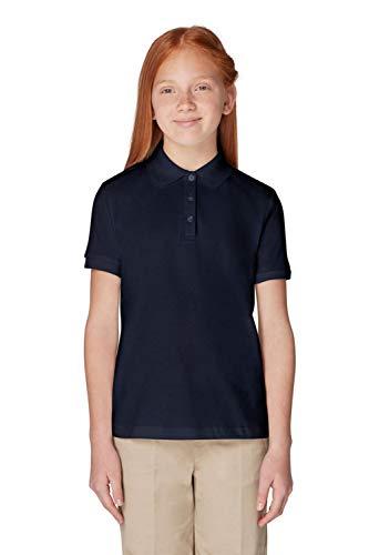 French Toast Big Girls Short Sleeve Picot Collar Interlock Polo, Navy, Medium/7/8 -