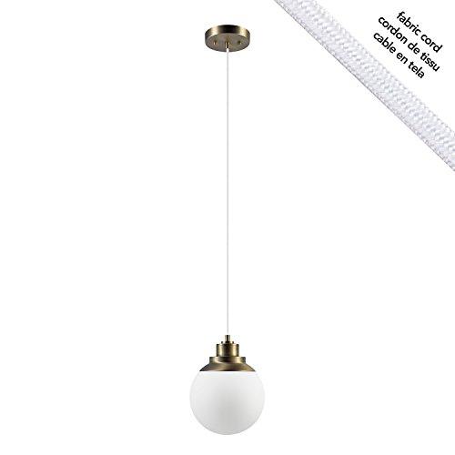 (Globe Electric 65852 Portland 1-Light Brass Finish, Matte Opal Glass Shade Cloth Cord, Pendant, White)