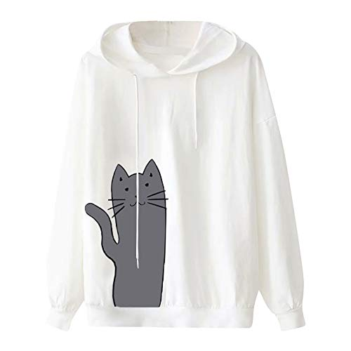 (Sherostore ♡ Girl Women's Cat Print Sweatshirt Long Sleeve Loose Hoodie Pullover Shirt Casual Running Blouse Hoodie White)