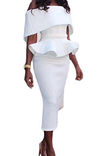 Shoulder Pure Out Flounced Dress Color Women Pencil White Cut Coolred Long 5XwnqfI44x