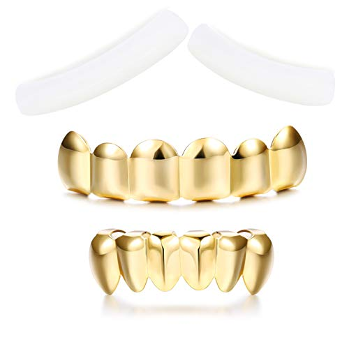 Finrezio Gold Plated Grillz Hip Hop Teeth Top and Bottom Fake Mouth Grill with 2 Extra Molding -