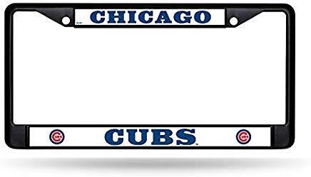 GRAETfpeoglsd Chicago Cubs Custom Black Metal Chrome License Plate Tag Frame Cover Baseball