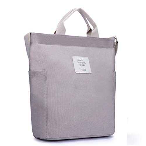 HaloVa Women's Shoulder Bag, Stylish Handbag, Large Canvas Tote Bag, Multiple Ways to Carry, Gray