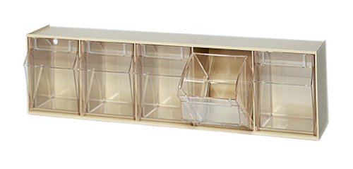 Quantum QTB305 Clear 5-1/4-Inch by 23-5/8-Inch by 6-1/2-Inch Tip Out Bin System, Ivory