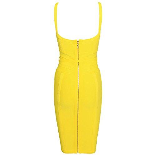 Lacing Polyester Bodycon Jaune Sashes V Women's Strap Dress Neck Bandage Hlbandage Spaghetti 13JTcFKl