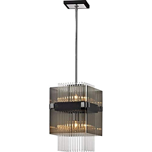 Troy Lighting F5904 Apollo 2-Light Mini Pendant-Dark Bronze and Polished Chrome-Plated Smoked Clear Glass Rods