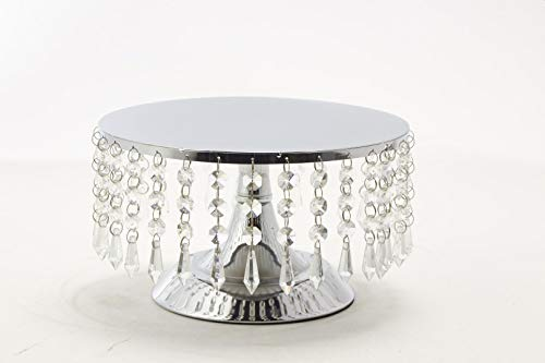 Afloral Silver Cake Stand with Hanging Acrylic Crystals - 5.5