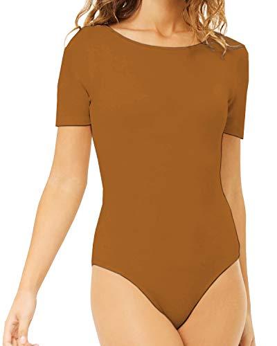 MANGDIUP Women's Round Collar Short Sleeve Elastic Bodysuits Jumpsuits (Camel, ()