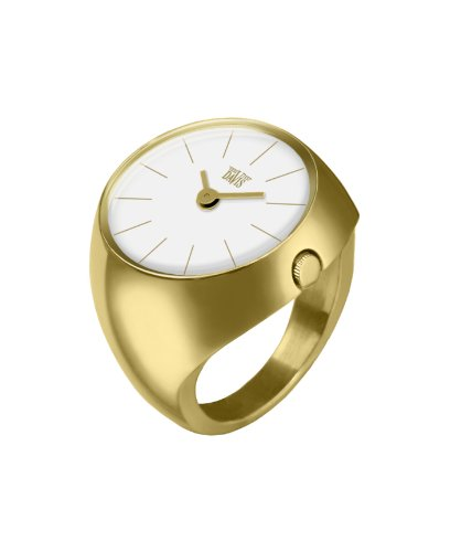 Davis 2006L - Womens Finger Ring Watch Yellow Gold Domed Sapphire Glass White Dial Index baton Size 58 by Davis