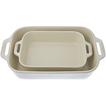 Staub 40511-921 Ceramics Rectangular Baking Dish Set, 2-piece, Rustic Ivory