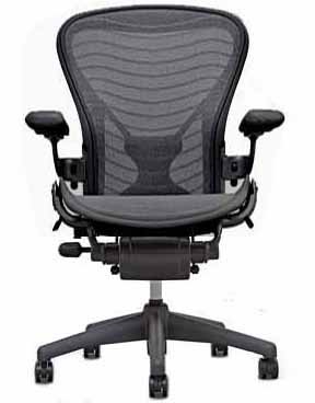 [Herman Miller Classic Aeron Task Chair: Tilt Limiter w/Seat Angle Adj - PostureFit Support - Fully Adj Leather Arms - Standard Carpet Caster] (Herman Miller Mesh Chair)