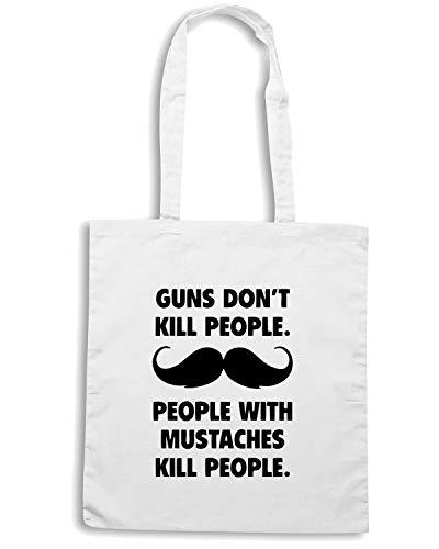Speed Shirt Borsa Shopper Bianca OLDENG00100 GUNS DONT KILL PEOPLE