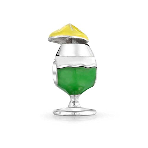Bling Jewelry 925 Sterling Silver Cocktail Pina Colada Drink Bead Charm