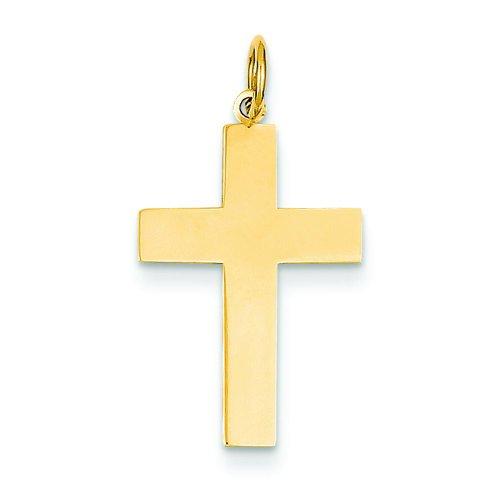 14K Yellow Gold Engraveable Cross Charm Pendant Jewelry ()