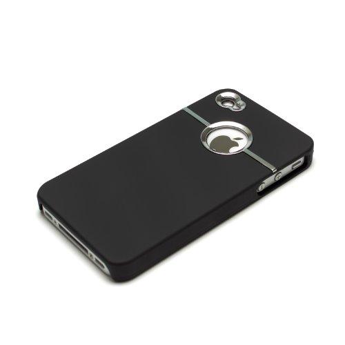 deinPhone - iPhone 4 4S Case Schutzhülle Schutz Handy Hülle Bumper Tasche Etui Silver Line in Schwarz
