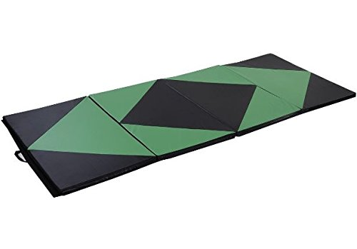 "K&A Company Folding Panel Gymnastics Rhombic Splicing Thick Gym Yoga Exercise Mat 4' x 10' x 2"" Green"
