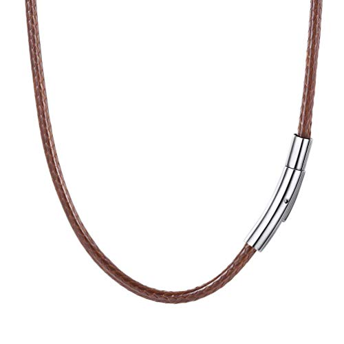 - U7 Braided Leather Cord Necklace with Stainless Steel Snap Clasp 2mm Wide DIY Waterproof Woven Brown Rope Chain for Men Women, 28 Inch
