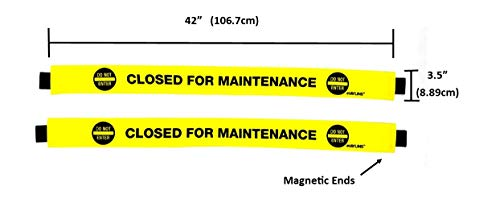 HAYLINS (2 Pack) Closed For Maintenance sign with magnetic ends nylon door banner (2 Pack)  