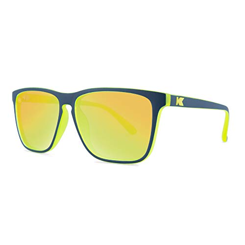 Knockaround Fast Lanes Polarized Sunglasses With Navy Blue And Yellow Frames/Yellow Reflective ()