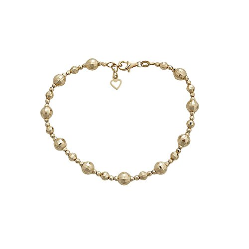 14k Yellow Gold Diamond Cut Beaded 7.5″ Bracelet With 0.5 Inch Extender