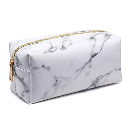 Marble Cosmetic Bag PU Leather Makeup Brushes Bags Organizer Holder Portable Pencil Storage Case with Gold Zipper for Women Purse,White (7.5