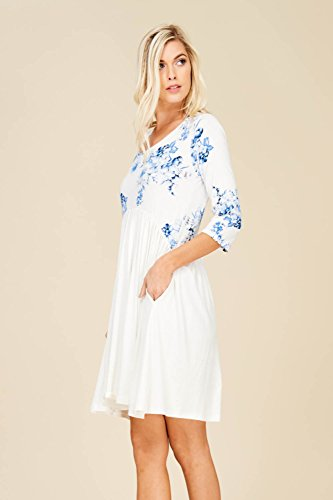 Dress A Women's Sleeve Annabelle Floral Royal Empire Line 4 3 Waist Swing Pocket Babydoll tqZqYnwPCW