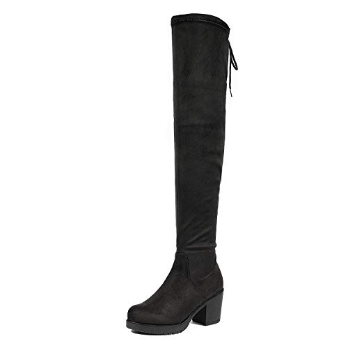 Calf High Platform - DREAM PAIRS Women's HI_Chunk Black Over The Knee High Boots Size 8.5 B(M) US