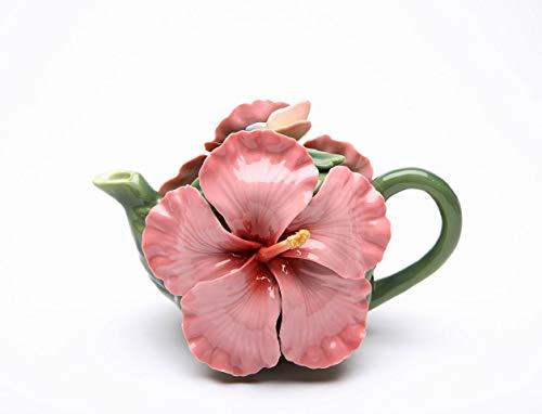 Fine Porcelain Pink Hibiscus Flower Teapot, 6 3/4