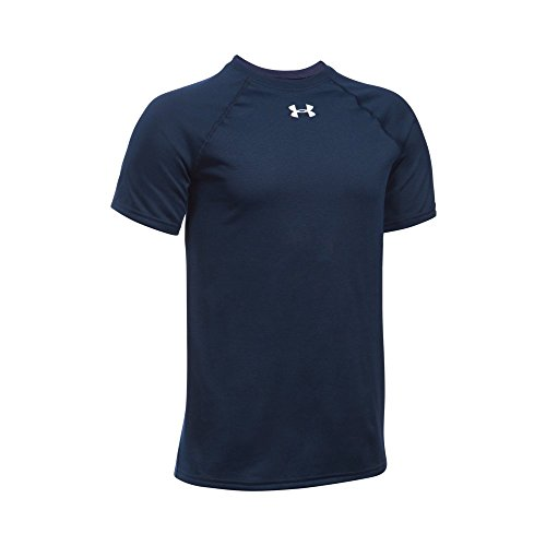 Under Armour Boys' Locker Short Sleeve T-Shirt, Midnight Navy (410)/White, Youth ()