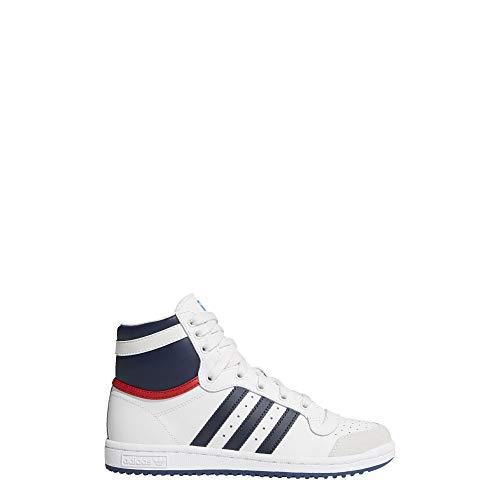 adidas Performance Top Ten Hi J Basketball Shoe (Big Kid), Core White/New Navy/Collegiate Red, 6 M US Big Kid