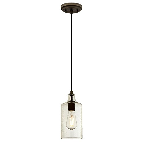 Westinghouse Lighting 6328900 One-Light Indoor Mini Pendant, Oil Rubbed Bronze Finish with Clear Textured Glass,