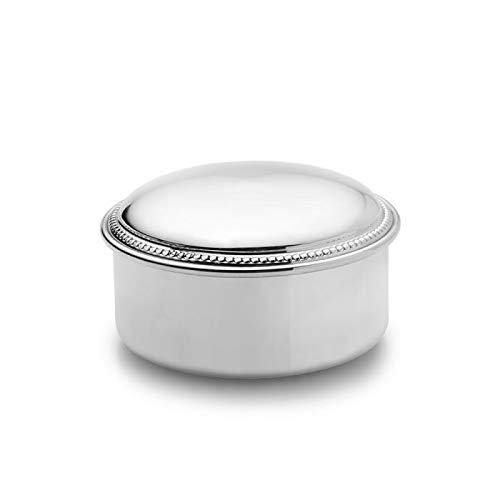(Empire Silver Round Beaded Pewter Jewelry Box)