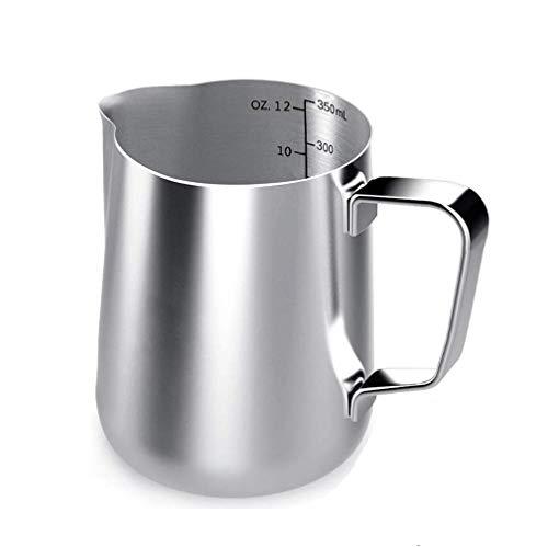 Voarge Melkkannetje, Milk Pitcher 350ml / 12 FL.oz. Melkkan van roestvrij staal, melkschuimkannetje melk opschuimen voor…