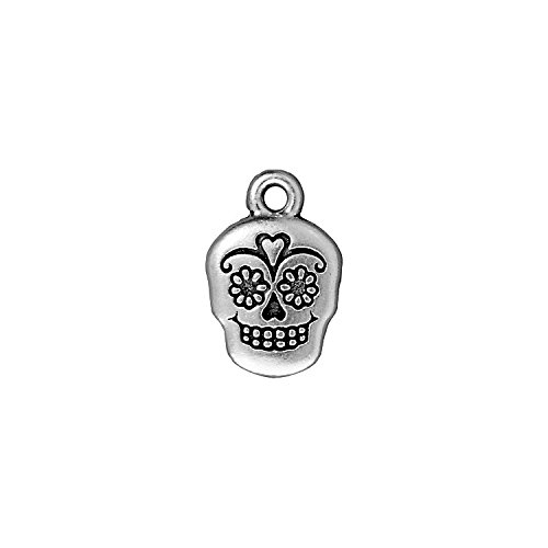 TierraCast Sugar Skull, 18mm, Antique Fine Silver Plated Petwer, 4-Pack -