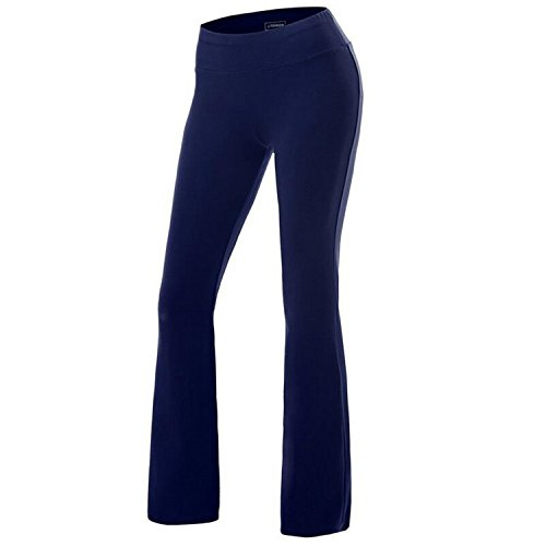 Bootcut Cotton Trousers (Women's Solid Cotton Spandex Boot Cut High Waisted Flare Yoga Pants Workout Casual Trousers Comfortable Flared Leggings Blue XL)