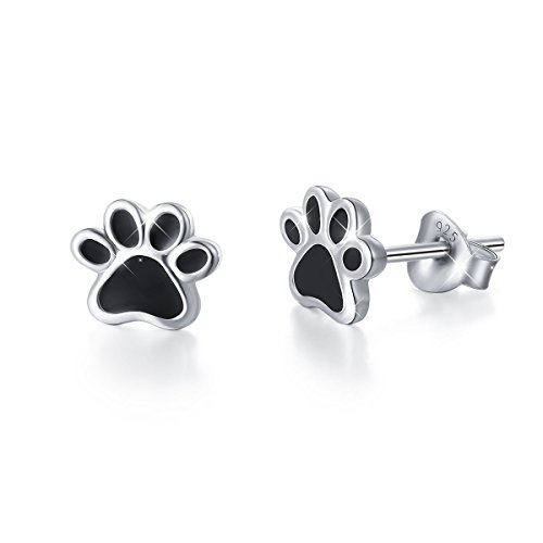 (S925 Sterling Silver Puppy Dog Cat Pet Paw Print Stud Earrings)