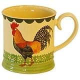 Fairmont and Main High fired Earthenware Cockerel Tankard Mugs, Set of 4, Cream with Cockerel