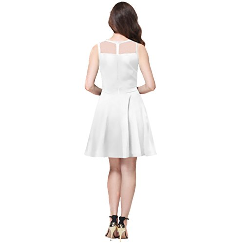 Pleated Buenos Party Women's White A Sleeveless Panel Mesh Ninos Dress Line Flare Short fFxFrwUt